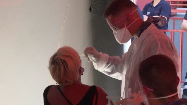 during a visit to a free covid testing centre in marseille the mayor michèle rubirola speaks on the possible restrictions on the opening hours of... - eventuell stock-videos und b-roll-filmmaterial