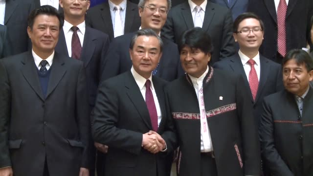 during a visit to la paz chinese foreign minister wang yi receives bolivia's highest distinction the order of the condor of the andes from president... - la paz bolivia stock videos & royalty-free footage