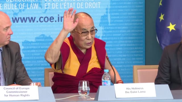 during a visit to the european council in strasbourg the dalai lama called on china to respect [tibet's] unique culture including language and rich... - philosophy stock videos & royalty-free footage