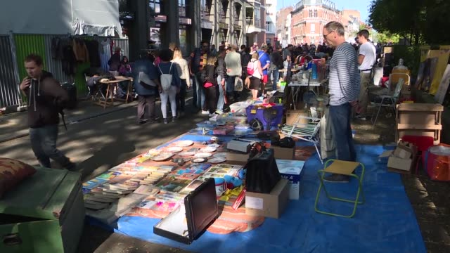 during a weekend lille is transformed into the bargaining capital with the traditional flea market which attracts visitors from all over the world - lille stock videos & royalty-free footage