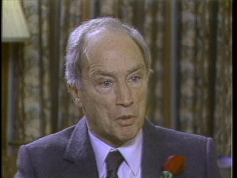 during an interview, former canadian prime minister pierre trudeau discusses his anti-nuclear proliferation activism and recent global disarmament... - human rights or social issues or immigration or employment and labor or protest or riot or lgbtqi rights or women's rights stock videos & royalty-free footage