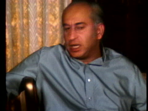 during an interview in 1971, pakistan's president zulfikar ali bhutto comments about his country's war with india. - (war or terrorism or election or government or illness or news event or speech or politics or politician or conflict or military or extreme weather or business or economy) and not usa stock videos & royalty-free footage