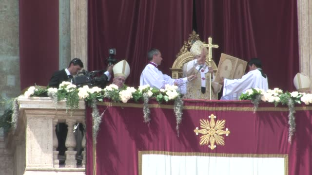 during easter mass in st. peter's square on april 24, 2011 in vatican city, vatican - priest stock videos & royalty-free footage