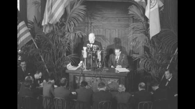 """during event at new york city hall, sot former british prime minister winston churchill: """"...the military side of american life had not been... - human arm stock videos & royalty-free footage"""