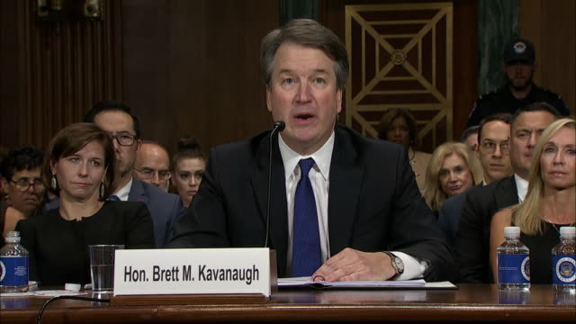 vídeos y material grabado en eventos de stock de during his opening statement, judge brett kavanaugh comments on his consumption of beer. this took place at the senate hearing held on september 27,... - healthcare and medicine or illness or food and drink or fitness or exercise or wellbeing