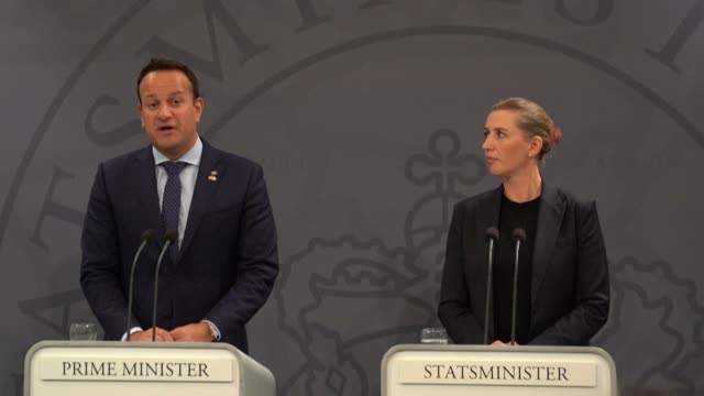 vídeos de stock e filmes b-roll de during his visit to denmark irish prime minister leo varadkar says that the difficulty with britain's new brexit proposal is that it appears to... - região de oresund