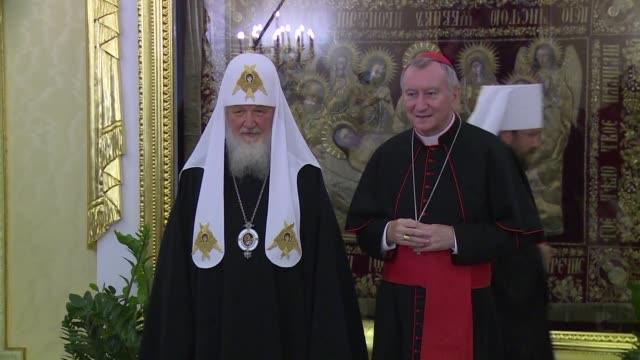 During his visit to Russia Vatican Secretary of State Cardinal Pietro Parolin meets with Russian Orthodox Patriarch Kirill one day before a meeting...
