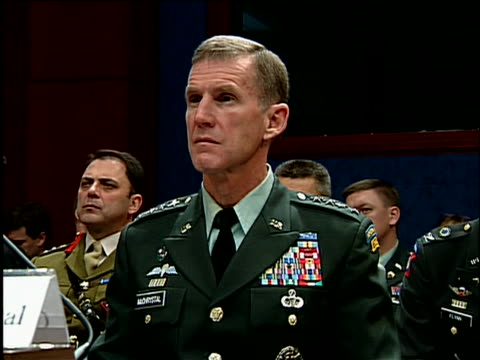 """during house armed services committee hearing on capitol hill republican california representative buck mckeon says """"the commander in chief responded... - international security assistance force stock videos & royalty-free footage"""