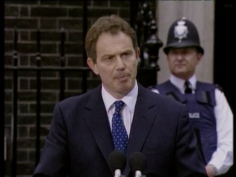 during press conference after labour party election victory tony blair talks about new responsibility held by his party london; 02 may 97 - anno 1997 video stock e b–roll