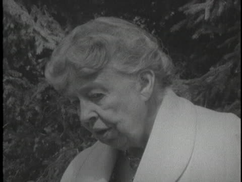 during soviet premier nikita khrushchev's visit to the roosevelt estate, former first lady eleanor roosevelt says the us and ussr can only talk or... - 1950 1959 stock videos & royalty-free footage