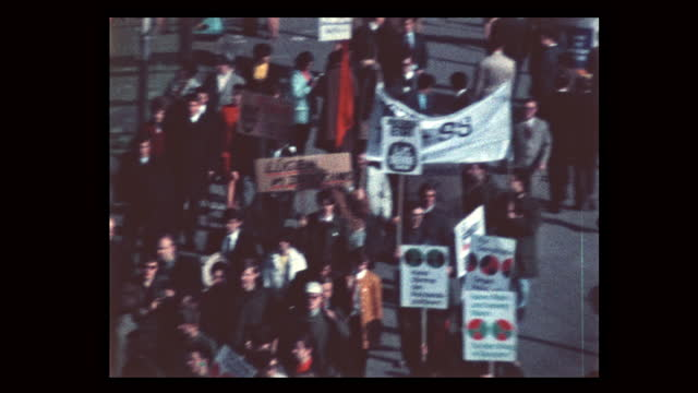 during spring 1968 students take to the streets protesting vietnam war and german emergency acts debated in parliament. student leader rudi dutschke... - 1968 stock-videos und b-roll-filmmaterial