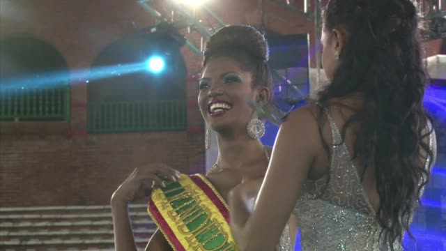 during the celebration of the 202 anniversary of the independence of the colombian city of cartagena andrea pineda from the poor neighborhood of... - beauty queen stock videos and b-roll footage