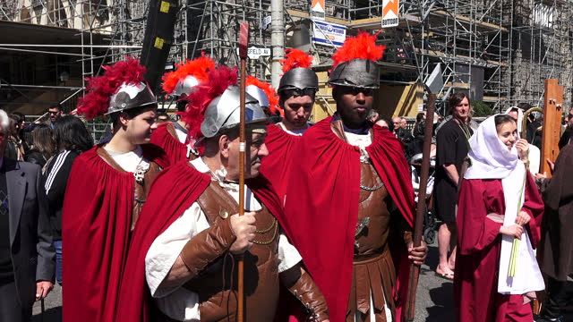 during the good friday parade on april 14 in little italy, toronto, canada. this annual event is part of the traditions and culture hold dear in the... - holy week stock videos & royalty-free footage