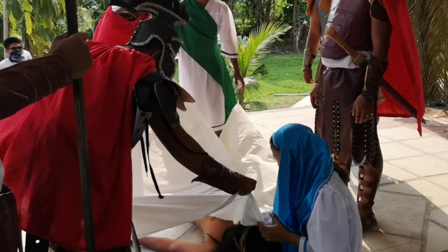 during the observance of holy week in the philippines, a lenten play depicting the 'passion of christ' were performed in different places. this play... - holy week stock videos & royalty-free footage