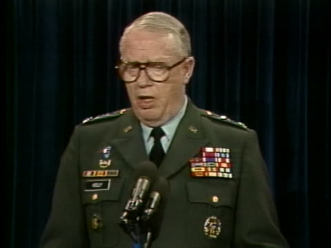 during the persian gulf war, general thomas kelly explains that it is good that the enemy comes out of prepared positions, as they make easier... - caucasian appearance stock videos & royalty-free footage