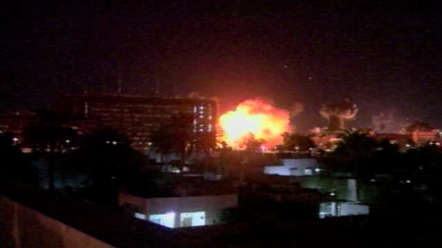 during the second gulf war allied forces bomb baghdad on march 28 2003 in baghdad iraq - 2003 stock-videos und b-roll-filmmaterial