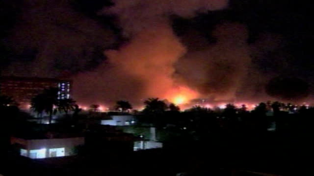 during the second gulf war allied forces bomb baghdad on march 28 2003 in baghdad iraq - iraq war stock videos and b-roll footage