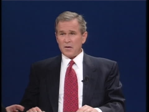 during the second presidential debate of the 2000 campaign season, texas gov. george w. bush states that the united states should not be telling... - 2000s style stock videos & royalty-free footage