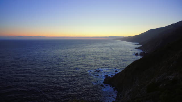 Dusk Above the Rocky Coastline in Big Sur