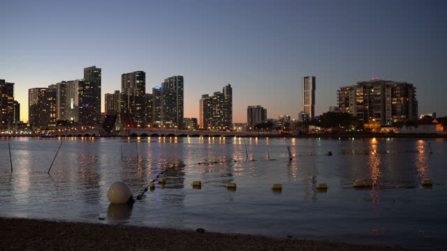 dusk at biscayne bay - miami - biscayne bay stock videos & royalty-free footage