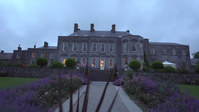 dusk at castle durrow- ireland - stately home stock videos & royalty-free footage