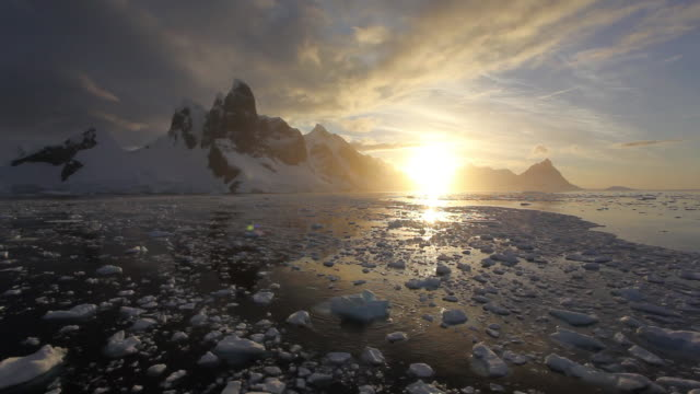 dusk at lemarie channel - antarctica sunset stock videos & royalty-free footage
