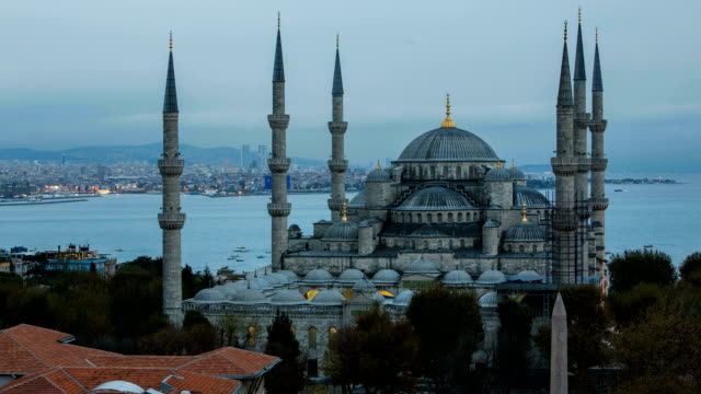dusk at the blue mosque - topkapi palace stock videos and b-roll footage