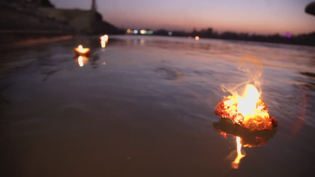 dusk ceremony at ganges river - india - traditional festival stock videos and b-roll footage