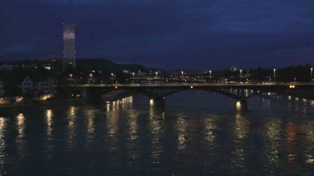 dusk colours over bridges and buildings on the river rhine, - river rhine stock videos & royalty-free footage
