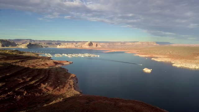 dusk drone footage of lake powell, wahweap bay near page arizona - named wilderness area stock videos & royalty-free footage