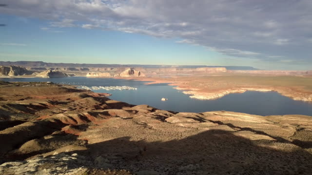 dusk drone footage of lake powell, wahweap bay near page arizona - lake powell stock videos & royalty-free footage