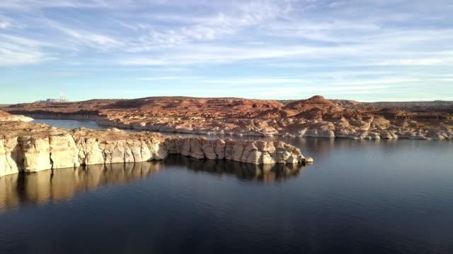 dusk drone footage of lake powell, wahweap bay near page arizona - lake powell stock videos & royalty-free footage