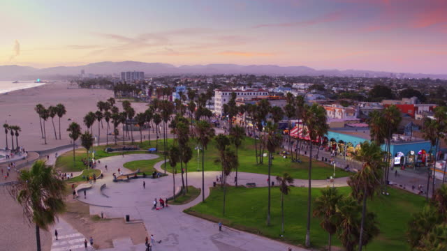 Dusk in Venice, California - Drone Shot