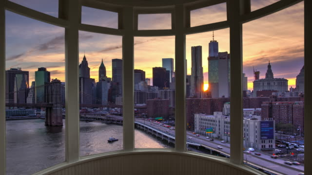 Dusk New York cityscape time lapse window panorama cityscape Manhattan