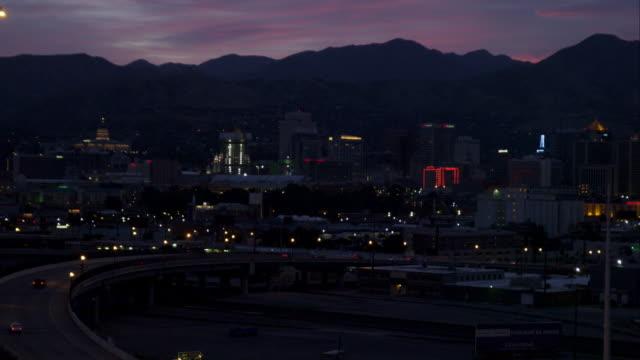Dusk night shot of Salt Lake City.