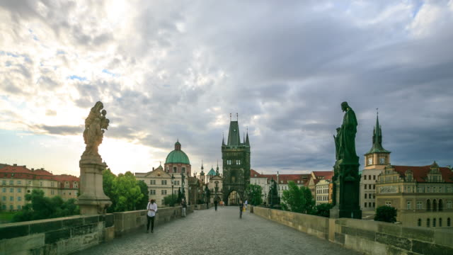 dusk on charles bridge - hradcany castle stock videos and b-roll footage