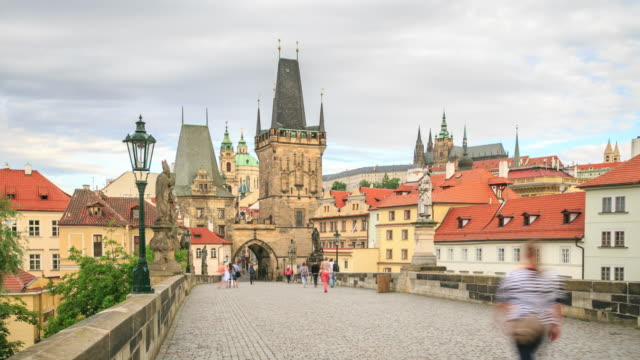 dusk on charles bridge - prague stock videos & royalty-free footage