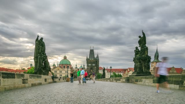 dusk on charles bridge - mala strana stock videos and b-roll footage