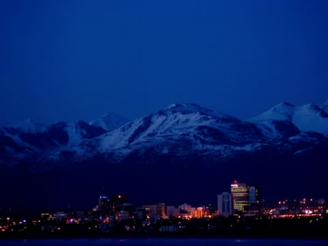 t/l dusk over city, anchorage, alaska, usa - anchorage alaska stock videos & royalty-free footage