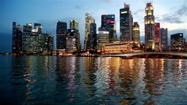 dusk over singapore - real time stock videos & royalty-free footage