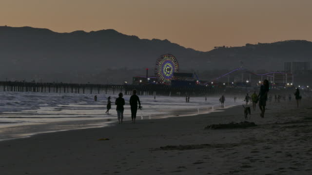 vidéos et rushes de 4k dusk people in silhouette walking on the beach the santa monica pier is in the background - santa monica