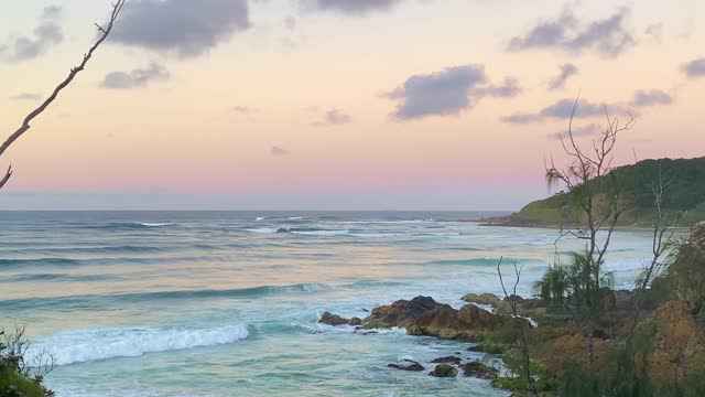 dusk sunset ocean views from headland lookout - idyllic stock videos & royalty-free footage