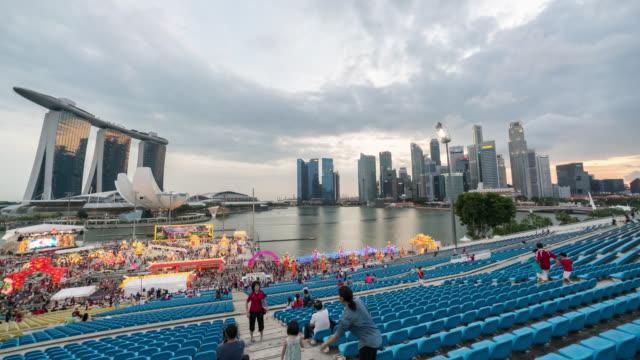 Dusk to night 4k time lapse at Singapore city skyline