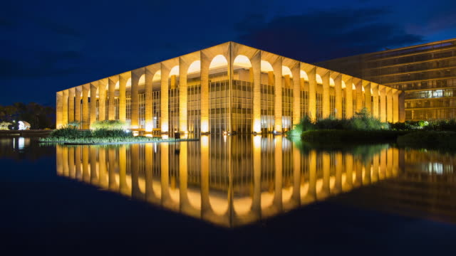TL, MS Dusk to night of Palacio Itamaraty / Itamaraty Palace / Brasilia, Brazil