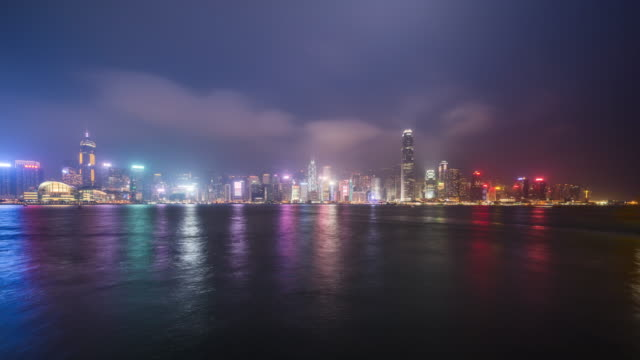 dusk to night transiton of victoria harbour on a cloudy day - dusk to night stock videos & royalty-free footage
