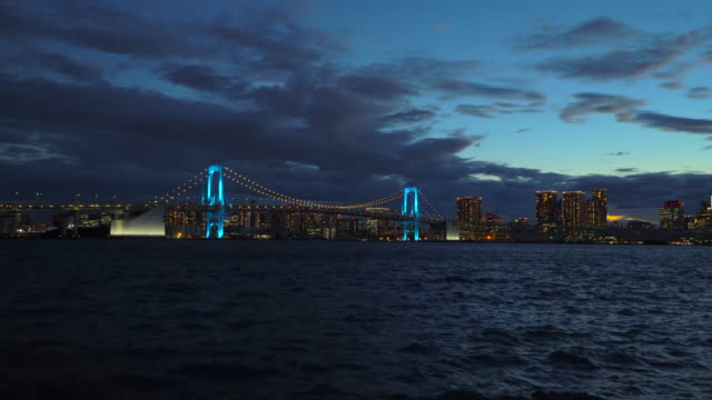 dusk view of rainbow bridge, illuminated by blue /support & gratitude to medical staff - tokyo bay stock videos & royalty-free footage