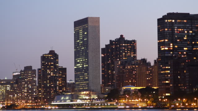Dusk view of UN Headquarters