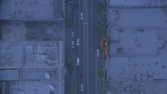 dusk-aerial of la & straight down - dusk stock videos & royalty-free footage