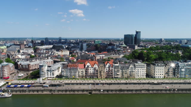 dusseldorf germany aerial video series - old town stock videos & royalty-free footage
