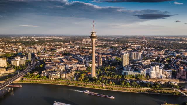 dusseldorf skyline with rheinturm - aerial hyperlapse - tower stock videos & royalty-free footage